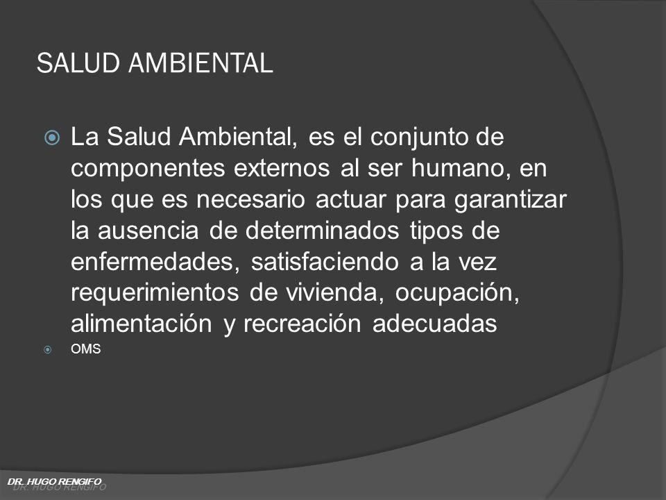 SALUD AMBIENTAL La Salud Ambiental, es el conjunto de componentes externos al ser humano, en los que es necesario actuar para garantizar la ausencia d