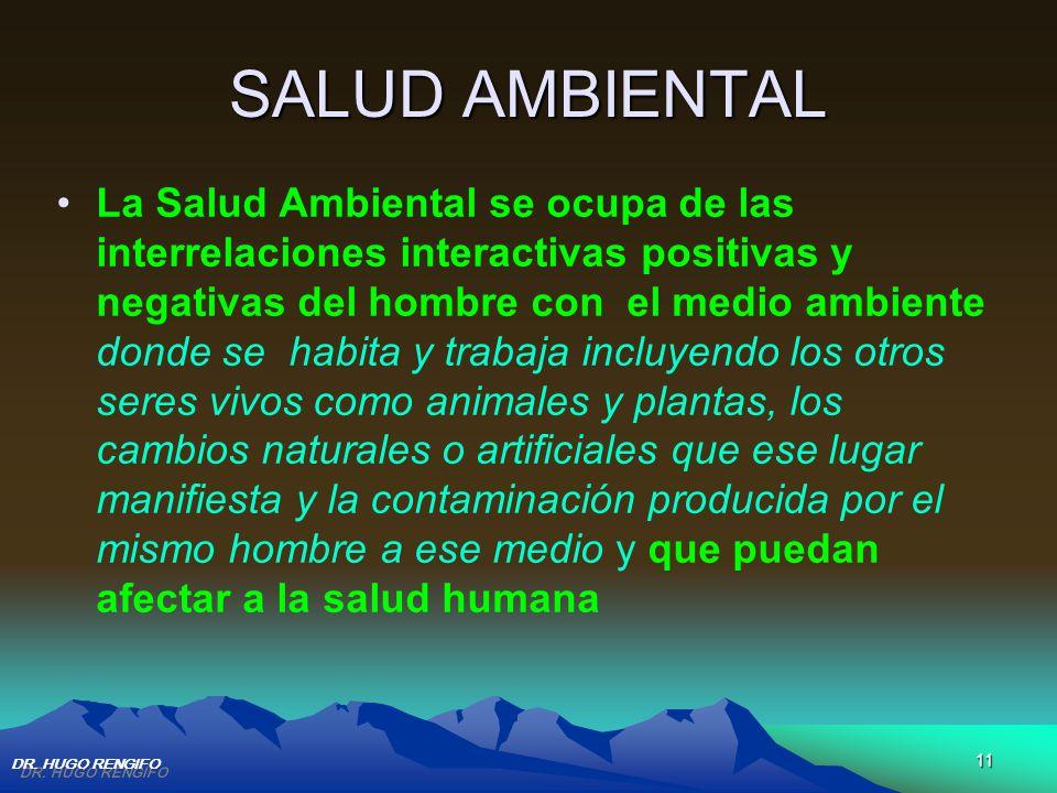 11 SALUD AMBIENTAL La Salud Ambiental se ocupa de las interrelaciones interactivas positivas y negativas del hombre con el medio ambiente donde se hab