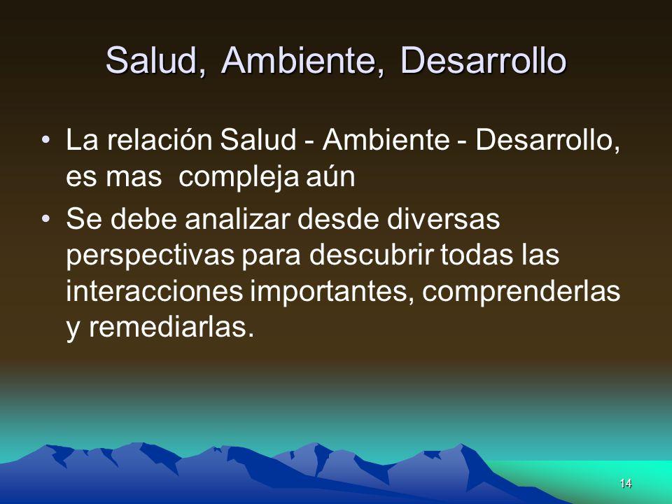 14 Salud, Ambiente, Desarrollo La relación Salud - Ambiente - Desarrollo, es mas compleja aún Se debe analizar desde diversas perspectivas para descub