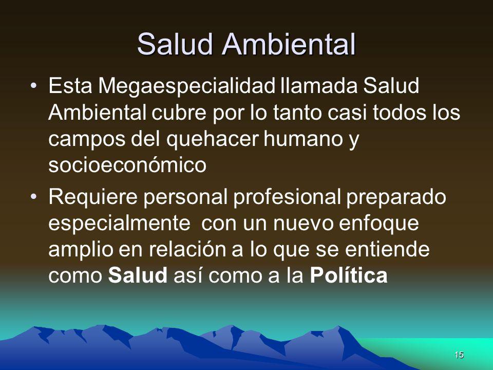 15 Salud Ambiental Esta Megaespecialidad llamada Salud Ambiental cubre por lo tanto casi todos los campos del quehacer humano y socioeconómico Requier