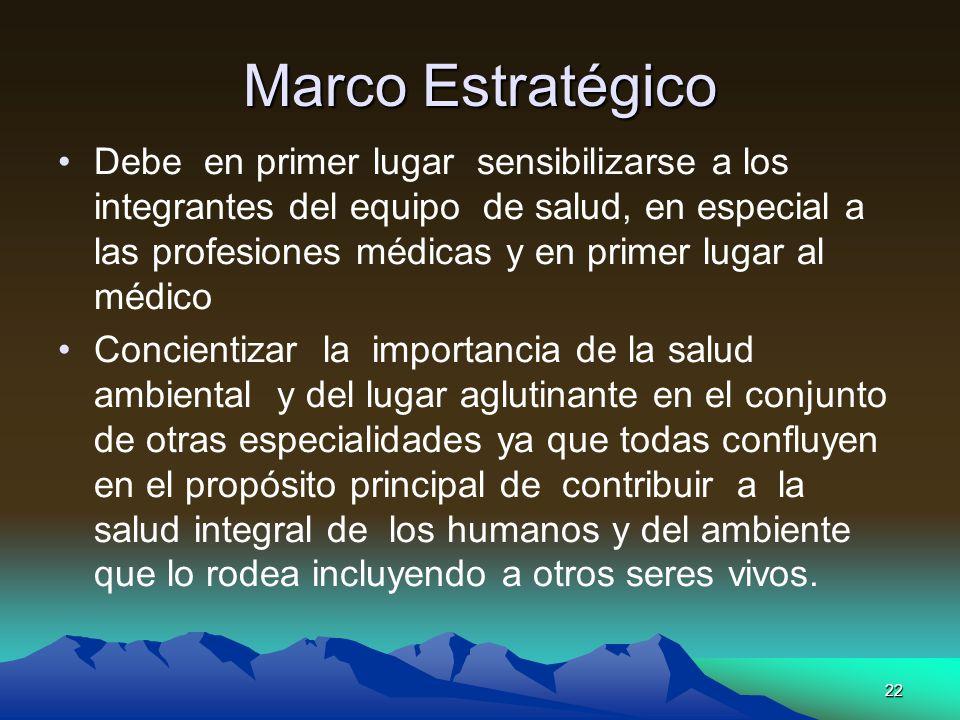 22 Marco Estratégico Debe en primer lugar sensibilizarse a los integrantes del equipo de salud, en especial a las profesiones médicas y en primer luga