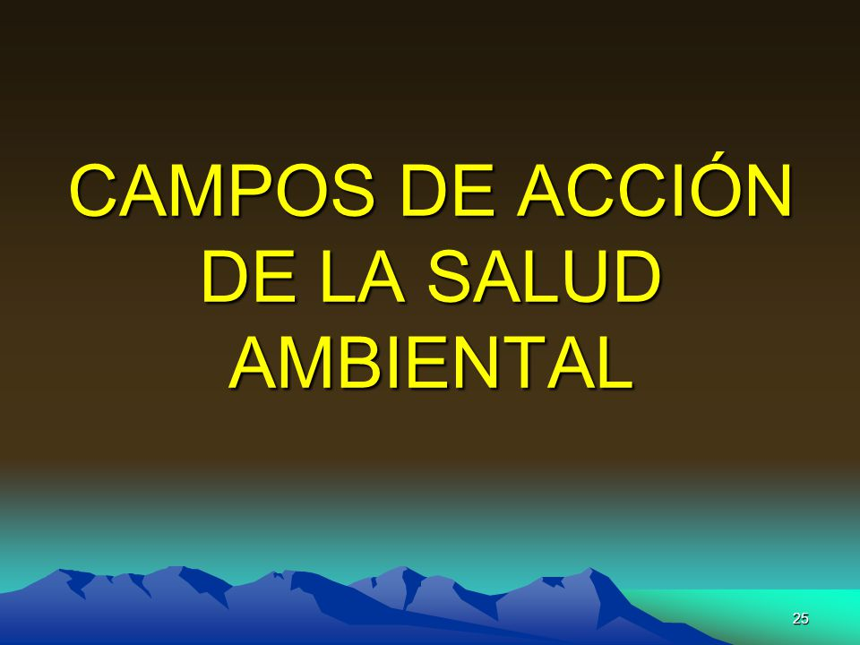 25 CAMPOS DE ACCIÓN DE LA SALUD AMBIENTAL