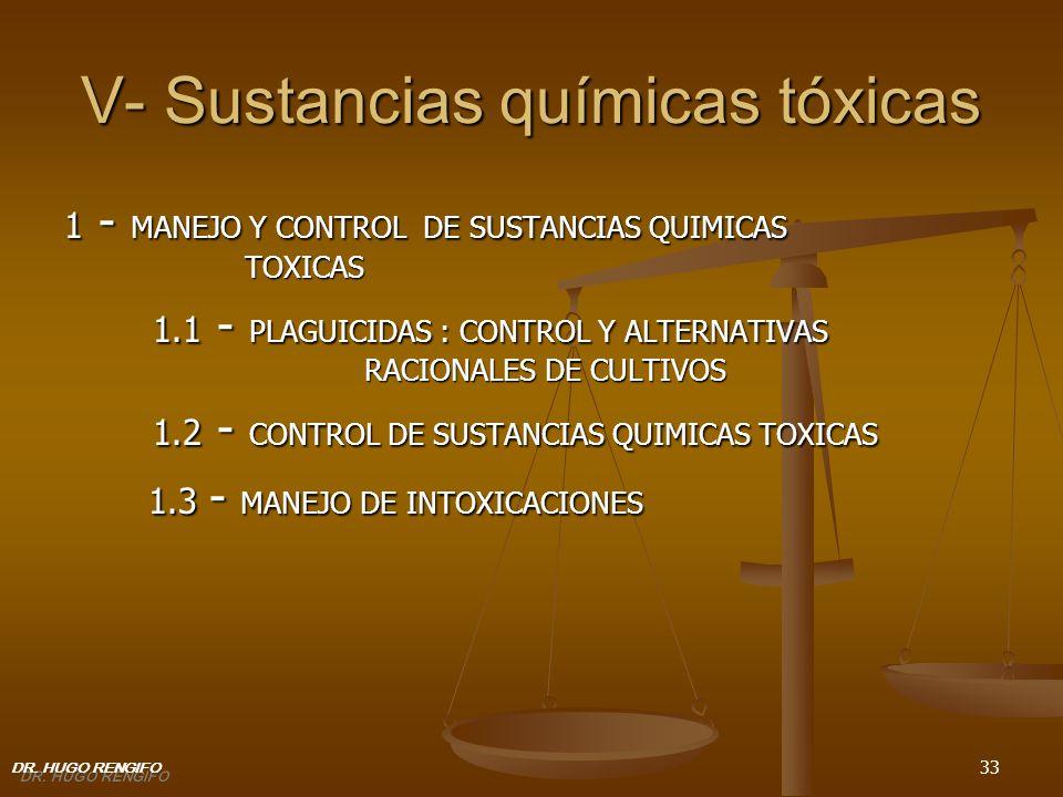 33 V- Sustancias químicas tóxicas 1 - MANEJO Y CONTROL DE SUSTANCIAS QUIMICAS TOXICAS 1.1 - PLAGUICIDAS : CONTROL Y ALTERNATIVAS RACIONALES DE CULTIVO