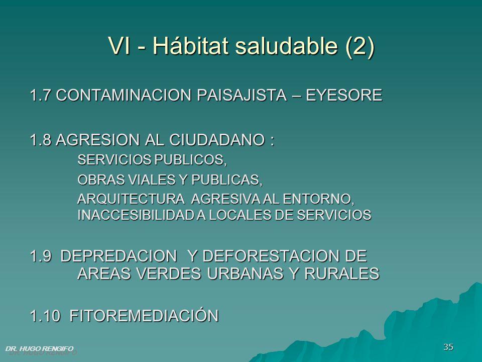35 VI - Hábitat saludable (2) 1.7 CONTAMINACION PAISAJISTA – EYESORE 1.8 AGRESION AL CIUDADANO : SERVICIOS PUBLICOS, OBRAS VIALES Y PUBLICAS, ARQUITEC