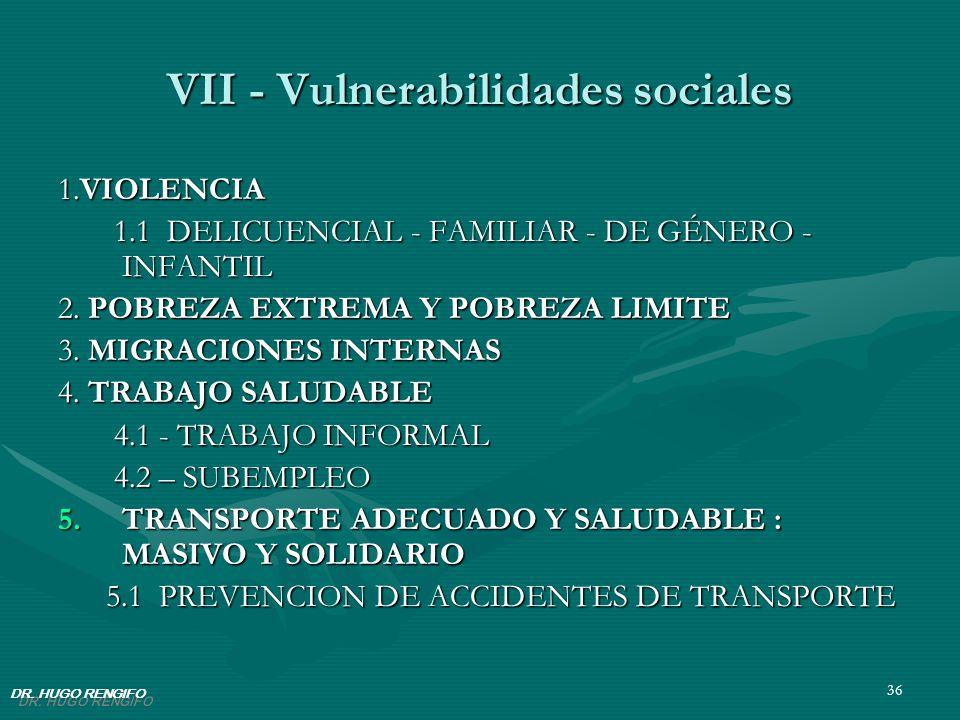 36 VII - Vulnerabilidades sociales 1.VIOLENCIA 1.1 DELICUENCIAL - FAMILIAR - DE GÉNERO - INFANTIL 1.1 DELICUENCIAL - FAMILIAR - DE GÉNERO - INFANTIL 2