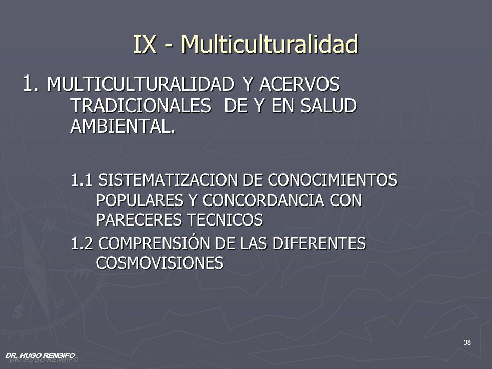 38 IX - Multiculturalidad 1. MULTICULTURALIDAD Y ACERVOS TRADICIONALES DE Y EN SALUD AMBIENTAL. 1.1 SISTEMATIZACION DE CONOCIMIENTOS POPULARES Y CONCO