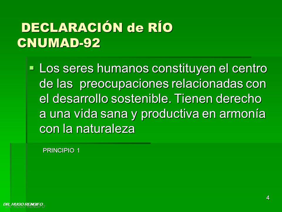 4 DECLARACIÓN de RÍO CNUMAD-92 DECLARACIÓN de RÍO CNUMAD-92 Los seres humanos constituyen el centro de las preocupaciones relacionadas con el desarrol
