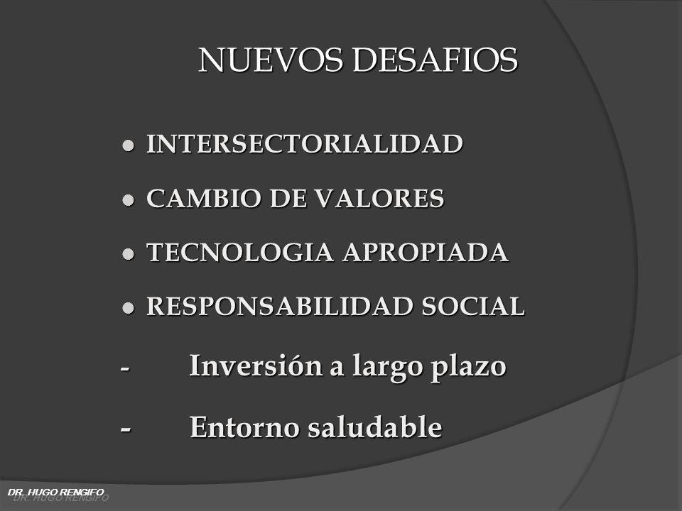 NUEVOS DESAFIOS l INTERSECTORIALIDAD l CAMBIO DE VALORES l TECNOLOGIA APROPIADA l RESPONSABILIDAD SOCIAL - Inversión a largo plazo -Entorno saludable