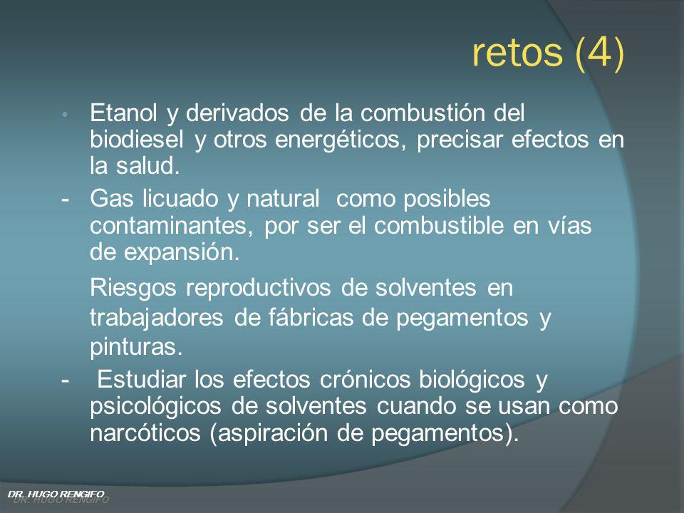 retos (4) Etanol y derivados de la combustión del biodiesel y otros energéticos, precisar efectos en la salud. - Gas licuado y natural como posibles c