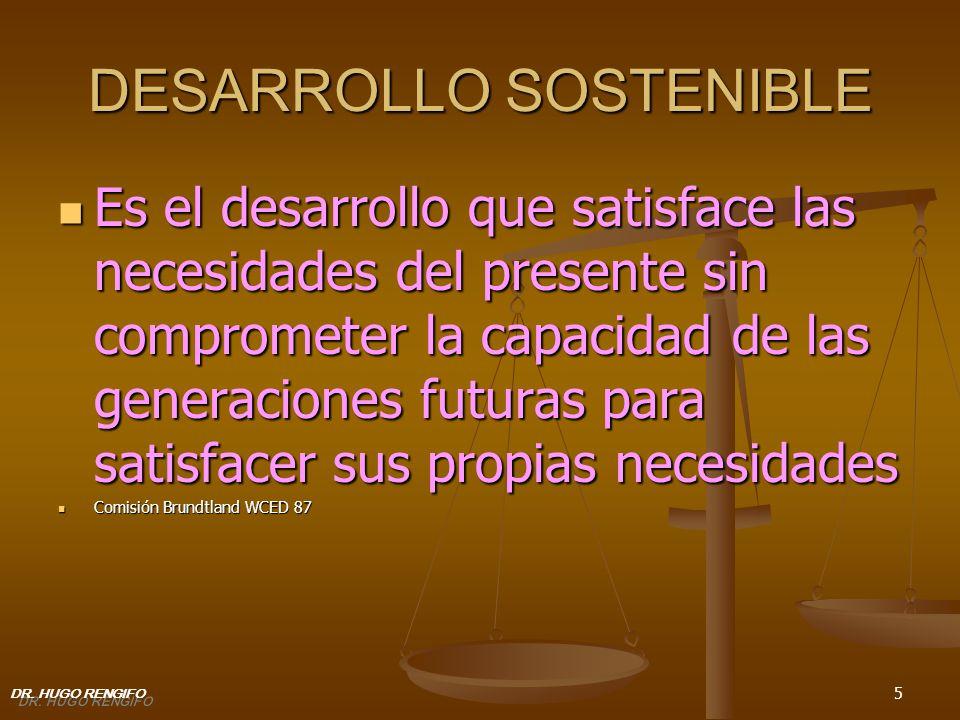 5 DESARROLLO SOSTENIBLE Es el desarrollo que satisface las necesidades del presente sin comprometer la capacidad de las generaciones futuras para sati