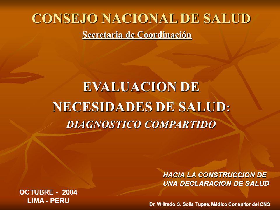 CONSEJO NACIONAL DE SALUD Secretaria de Coordinación EVALUACION DE NECESIDADES DE SALUD : DIAGNOSTICO COMPARTIDO OCTUBRE - 2004 LIMA - PERU HACIA LA CONSTRUCCION DE UNA DECLARACION DE SALUD Dr.