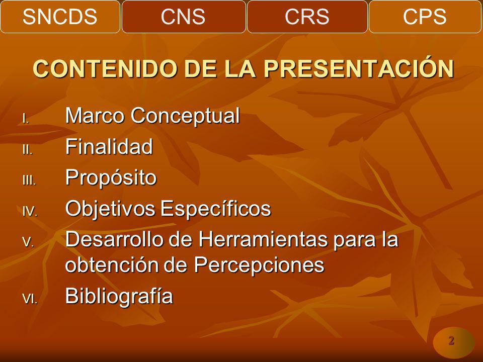 SNCDSCNSCRSCPS 2 CONTENIDO DE LA PRESENTACIÓN I. Marco Conceptual II. Finalidad III. Propósito IV. Objetivos Específicos V. Desarrollo de Herramientas