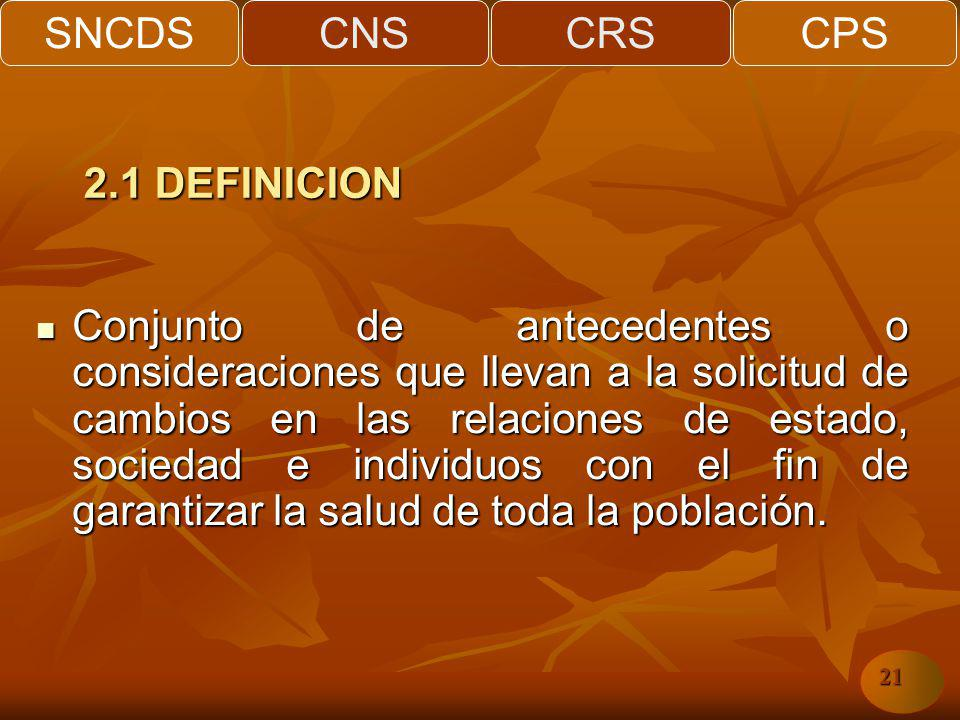 SNCDSCNSCRSCPS 21 Conjunto de antecedentes o consideraciones que llevan a la solicitud de cambios en las relaciones de estado, sociedad e individuos con el fin de garantizar la salud de toda la población.