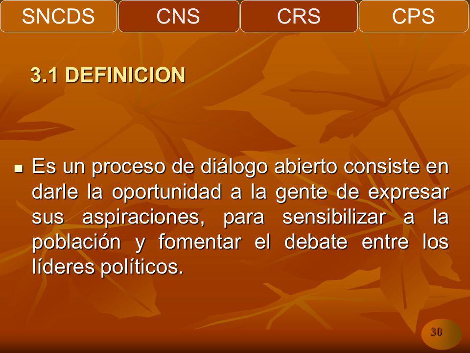 SNCDSCNSCRSCPS 30 Es un proceso de diálogo abierto consiste en darle la oportunidad a la gente de expresar sus aspiraciones, para sensibilizar a la población y fomentar el debate entre los líderes políticos.