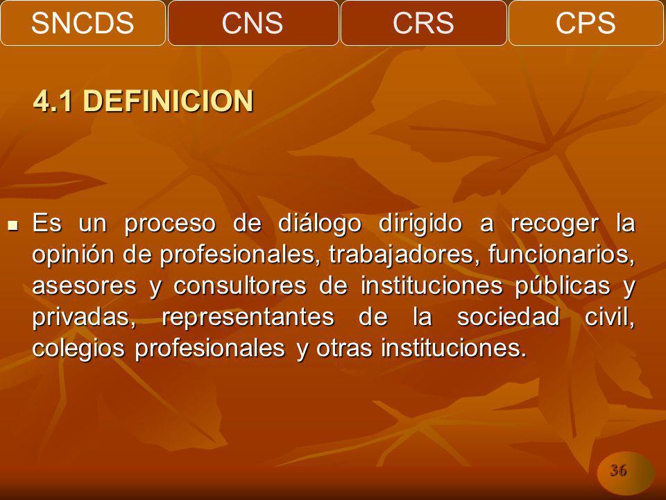 SNCDSCNSCRSCPS 36 Es un proceso de diálogo dirigido a recoger la opinión de profesionales, trabajadores, funcionarios, asesores y consultores de instituciones públicas y privadas, representantes de la sociedad civil, colegios profesionales y otras instituciones.