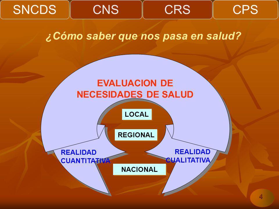 SNCDSCNSCRSCPS 4 EVALUACION DE NECESIDADES DE SALUD REALIDAD CUANTITATIVA REALIDAD CUALITATIVA LOCAL REGIONAL NACIONAL ¿Cómo saber que nos pasa en salud