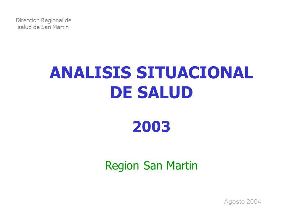 ANALISIS SITUACIONAL DE SALUD 2003 Region San Martin Agosto 2004 Direccion Regional de salud de San Martin