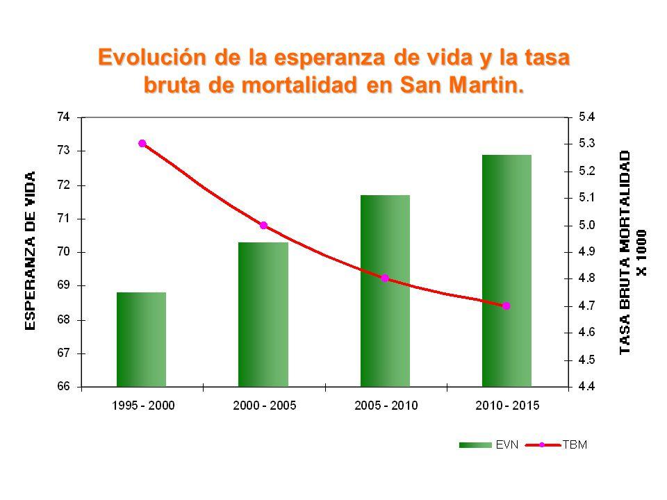 Evolución de la esperanza de vida y la tasa bruta de mortalidad en San Martin.