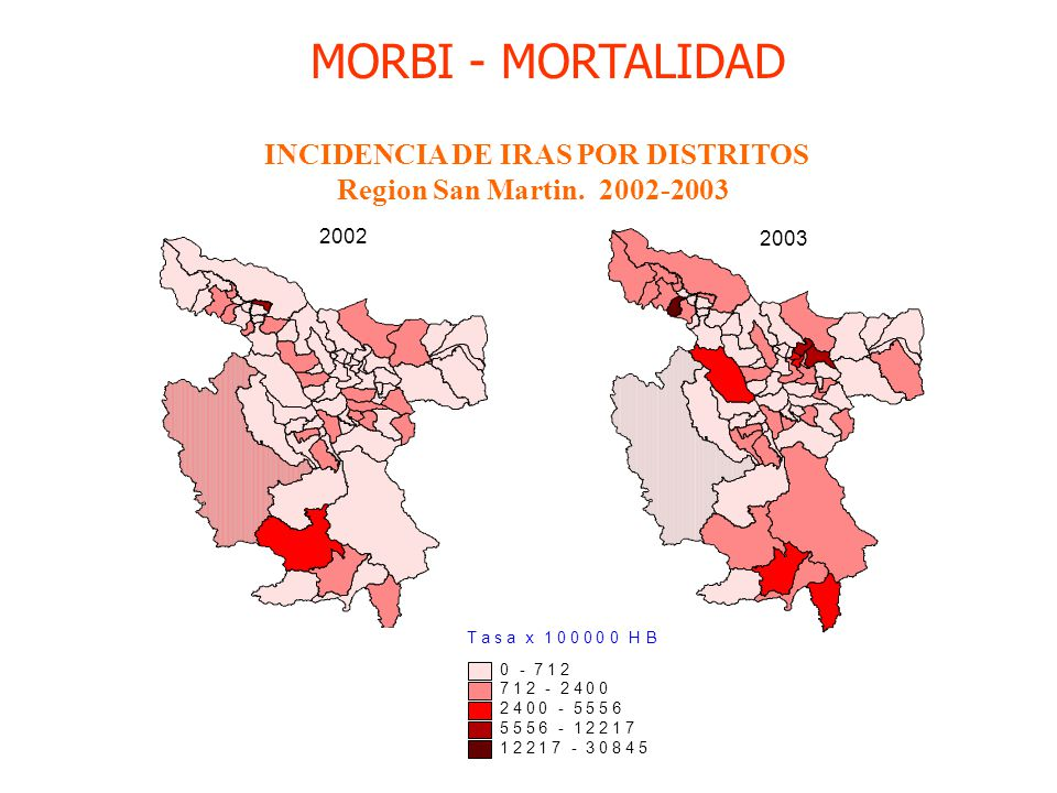 INCIDENCIA DE IRAS POR DISTRITOS Region San Martin. 2002-2003 Tasa x 100000 HB 0 - 712 712 - 2400 2400 - 5556 5556 - 12217 12217 - 30845 2002 2003 MOR