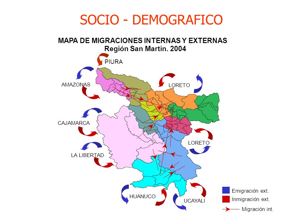 MAPA DE MIGRACIONES INTERNAS Y EXTERNAS Región San Martín. 2004 UCAYALI HUANUCO LA LIBERTAD CAJAMARCA AMAZONAS LORETO Emigración ext. Inmigración ext.