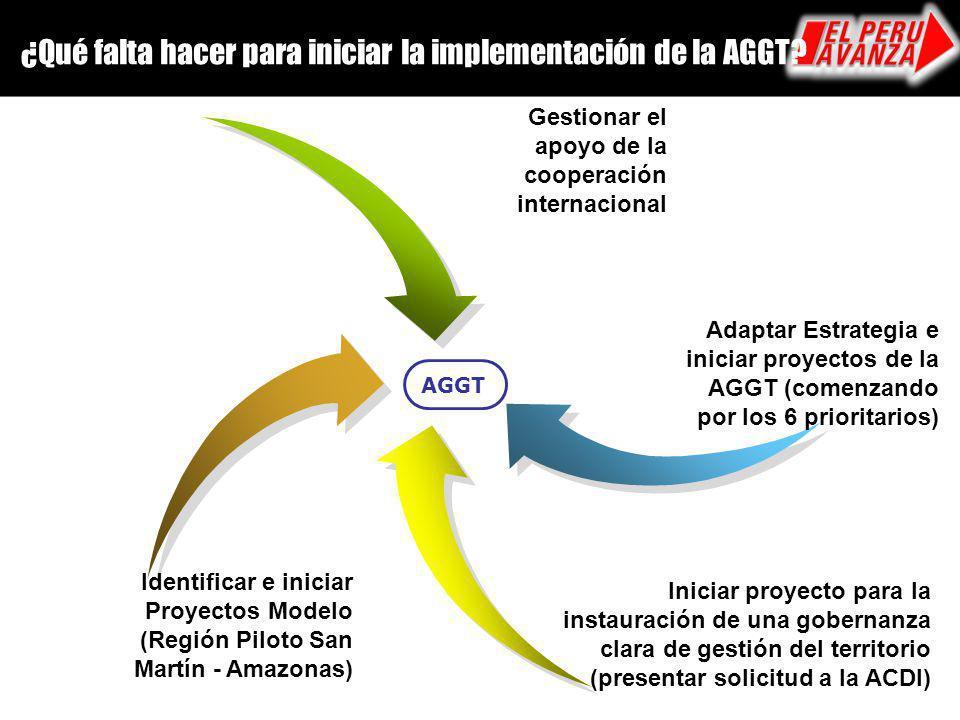 ¿Qué falta hacer para iniciar la implementación de la AGGT? AGGT Identificar e iniciar Proyectos Modelo (Región Piloto San Martín - Amazonas) Gestiona