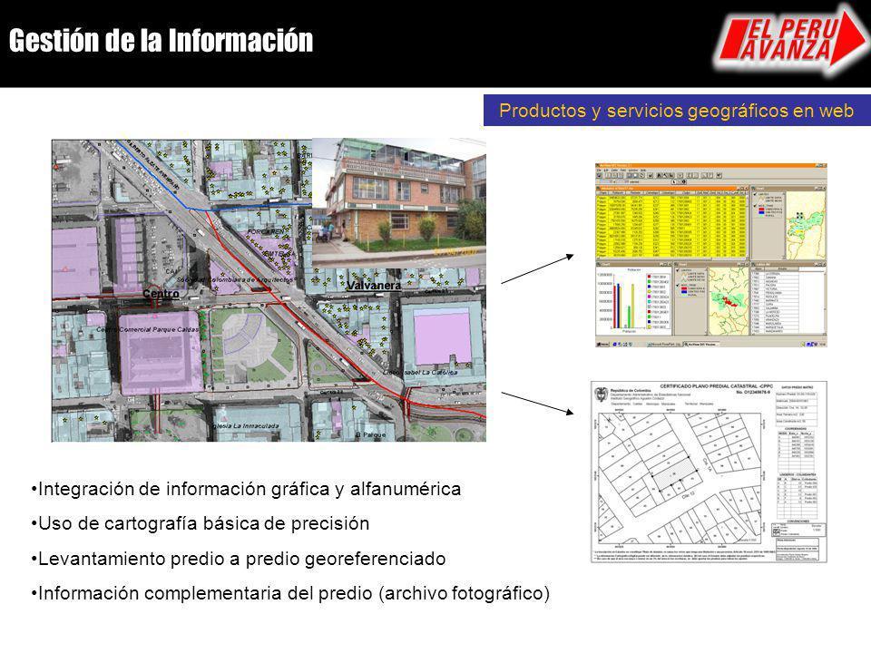 Integración de información gráfica y alfanumérica Uso de cartografía básica de precisión Levantamiento predio a predio georeferenciado Información com