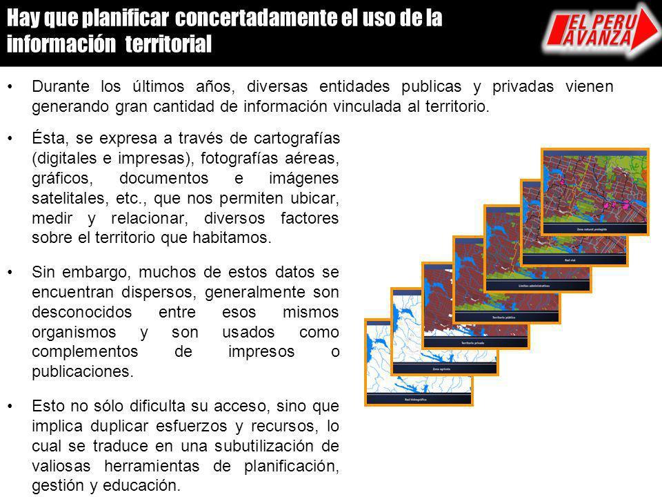Hay que planificar concertadamente el uso de la información territorial Durante los últimos años, diversas entidades publicas y privadas vienen genera