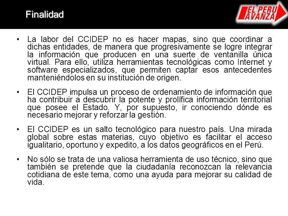 La labor del CCIDEP no es hacer mapas, sino que coordinar a dichas entidades, de manera que progresivamente se logre integrar la información que produ