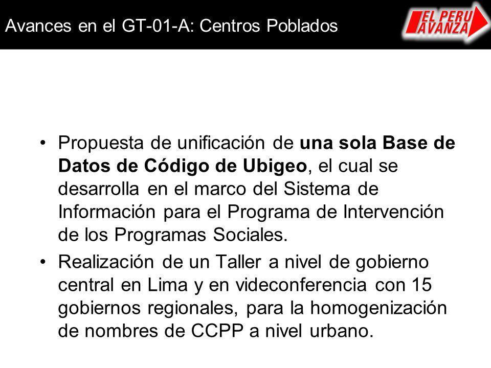Avances en el GT-01-A: Centros Poblados Propuesta de unificación de una sola Base de Datos de Código de Ubigeo, el cual se desarrolla en el marco del