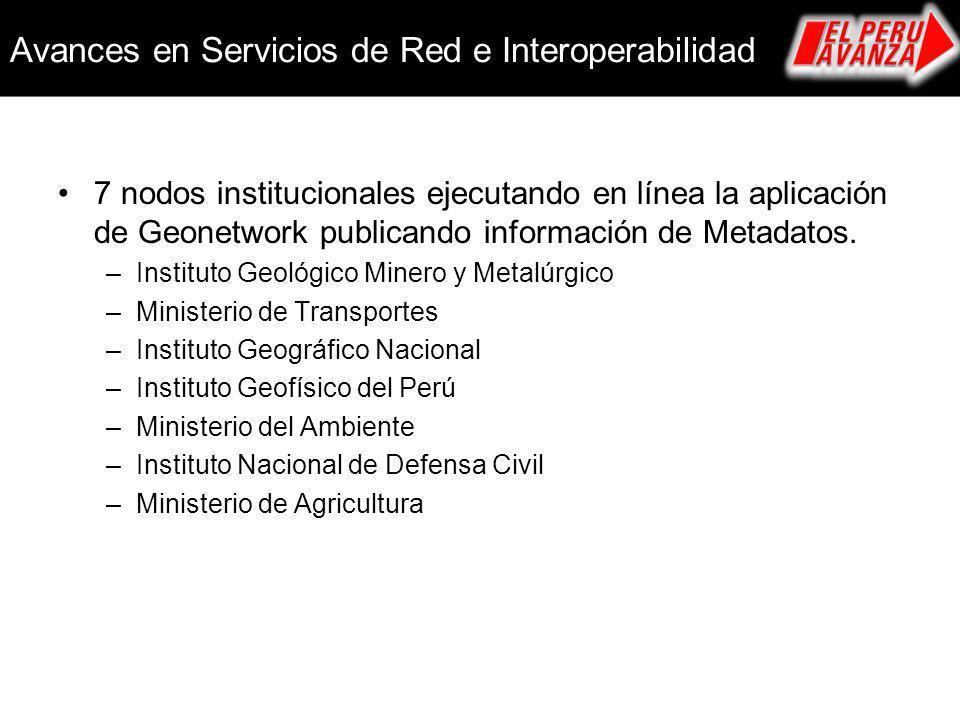 Avances en Servicios de Red e Interoperabilidad 7 nodos institucionales ejecutando en línea la aplicación de Geonetwork publicando información de Meta