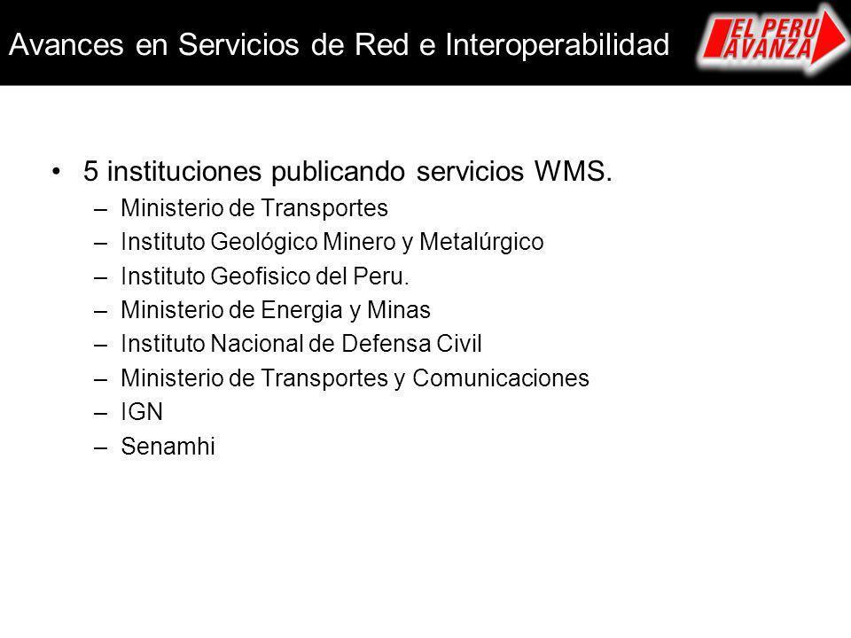 Avances en Servicios de Red e Interoperabilidad 5 instituciones publicando servicios WMS. –Ministerio de Transportes –Instituto Geológico Minero y Met