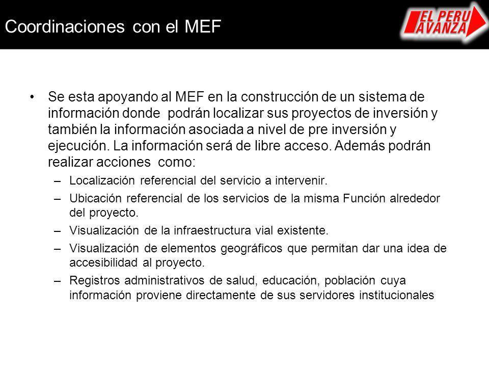 Se esta apoyando al MEF en la construcción de un sistema de información donde podrán localizar sus proyectos de inversión y también la información aso