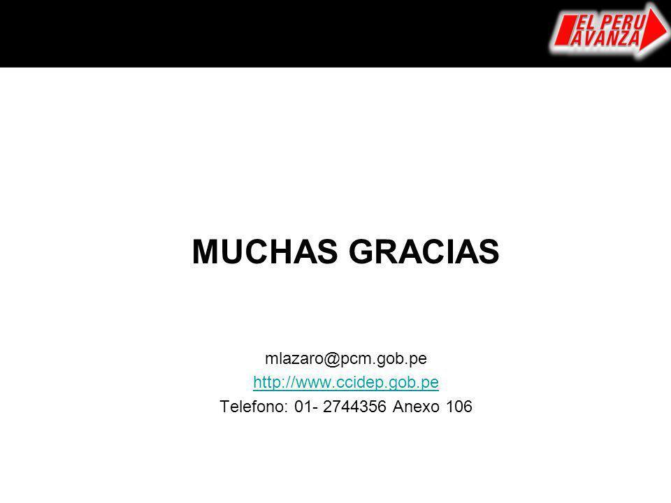 MUCHAS GRACIAS mlazaro@pcm.gob.pe http://www.ccidep.gob.pe Telefono: 01- 2744356 Anexo 106