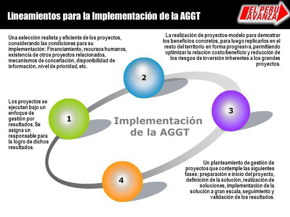 Implementación de la AGGT Lineamientos para la Implementación de la AGGT 1 Los proyectos se ejecutan bajo un enfoque de gestión por resultados. Se asi