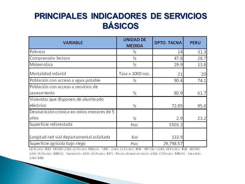 PRINCIPALES INDICADORES DE SERVICIOS BÁSICOS