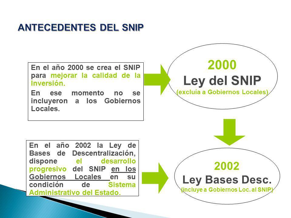 En el año 2000 se crea el SNIP para mejorar la calidad de la Inversión. En ese momento no se incluyeron a los Gobiernos Locales. En el año 2002 la Ley