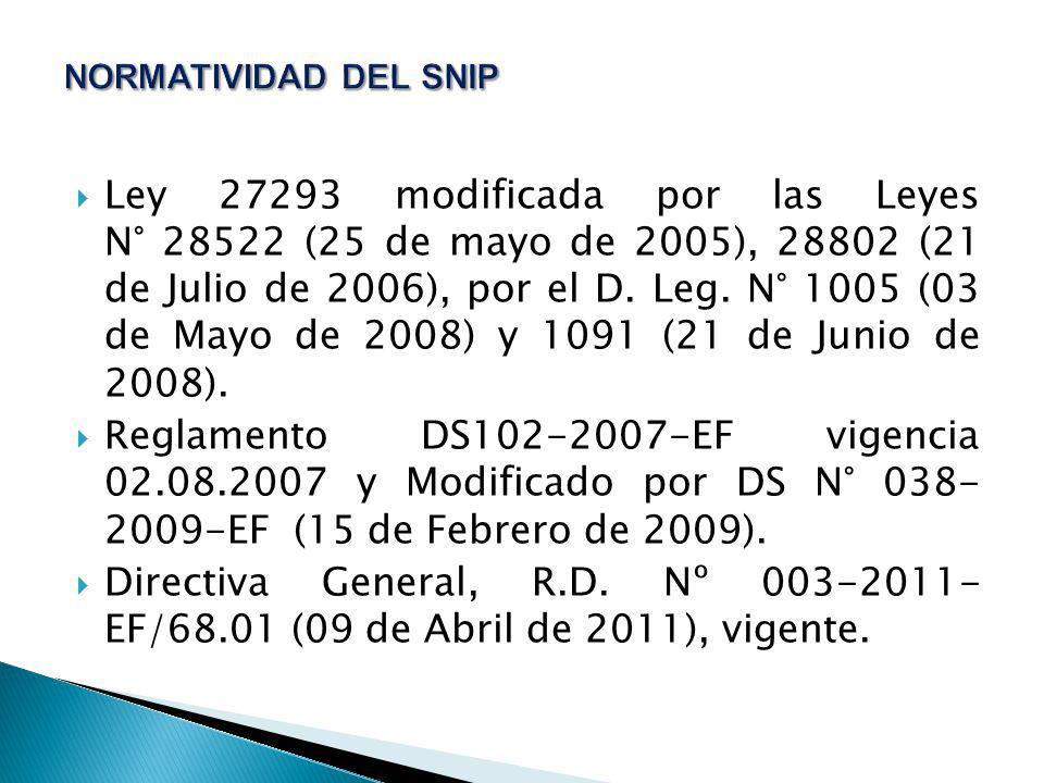 Ley 27293 modificada por las Leyes N° 28522 (25 de mayo de 2005), 28802 (21 de Julio de 2006), por el D. Leg. N° 1005 (03 de Mayo de 2008) y 1091 (21