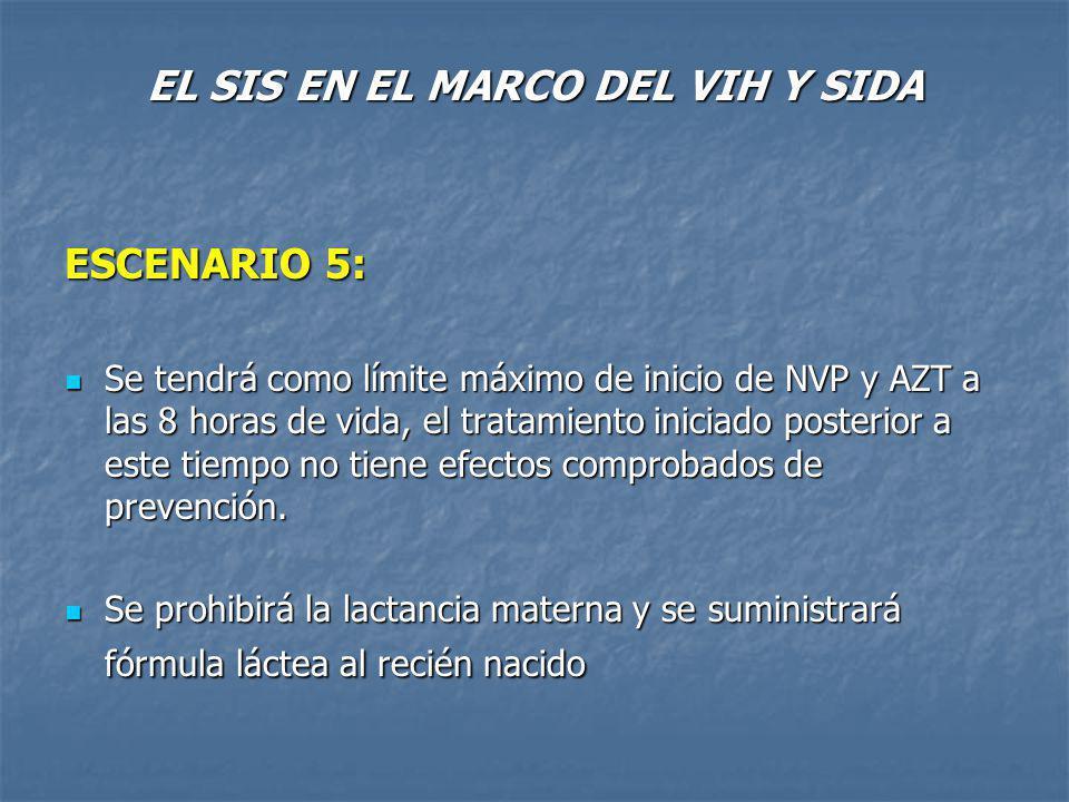 EL SIS EN EL MARCO DEL VIH Y SIDA ESCENARIO 5: Se tendrá como límite máximo de inicio de NVP y AZT a las 8 horas de vida, el tratamiento iniciado posterior a este tiempo no tiene efectos comprobados de prevención.