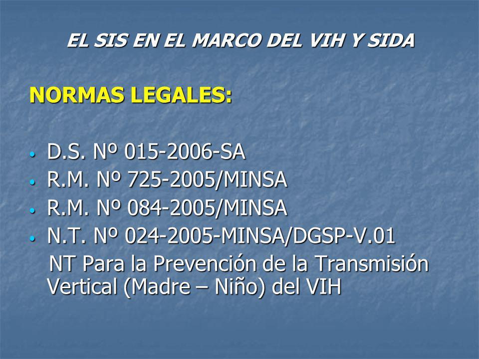EL SIS EN EL MARCO DEL VIH Y SIDA NORMAS LEGALES: D.S.