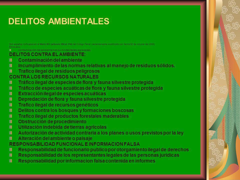 DELITOS AMBIENTALES Son aquellos tipificados en el título XIII (artículo 304 al 314) del Código Penal (recientemente modificado con fecha 02 de octubr