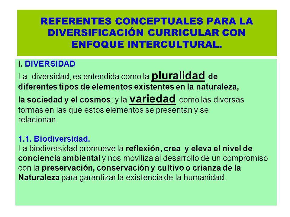 REFERENTES CONCEPTUALES PARA LA DIVERSIFICACIÓN CURRICULAR CON ENFOQUE INTERCULTURAL. I. DIVERSIDAD La diversidad, es entendida como la pluralidad de
