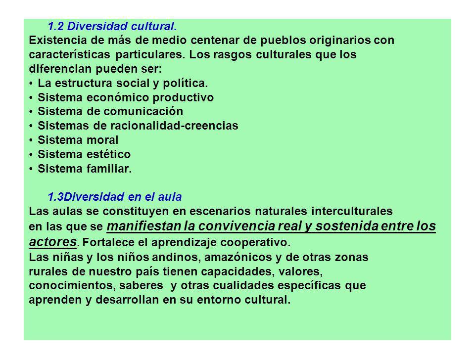 1.2 Diversidad cultural. Existencia de más de medio centenar de pueblos originarios con características particulares. Los rasgos culturales que los di