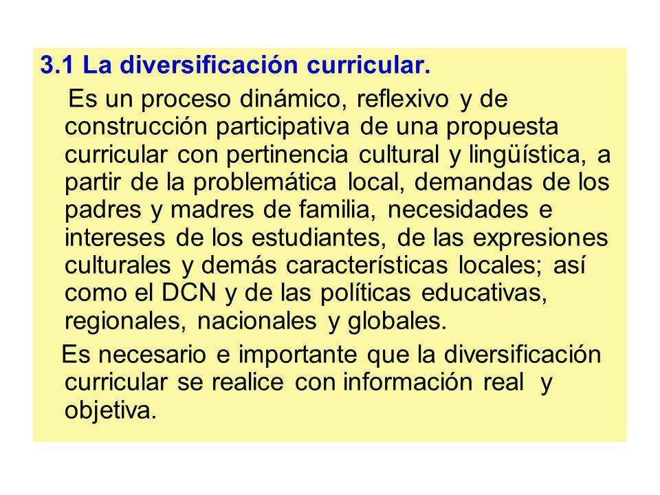 3.1 La diversificación curricular. Es un proceso dinámico, reflexivo y de construcción participativa de una propuesta curricular con pertinencia cultu