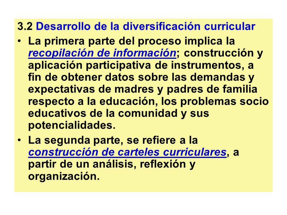 3.2 Desarrollo de la diversificación curricular La primera parte del proceso implica la recopilación de información; construcción y aplicación partici