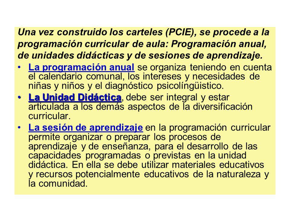 Una vez construido los carteles (PCIE), se procede a la programación curricular de aula: Programación anual, de unidades didácticas y de sesiones de a