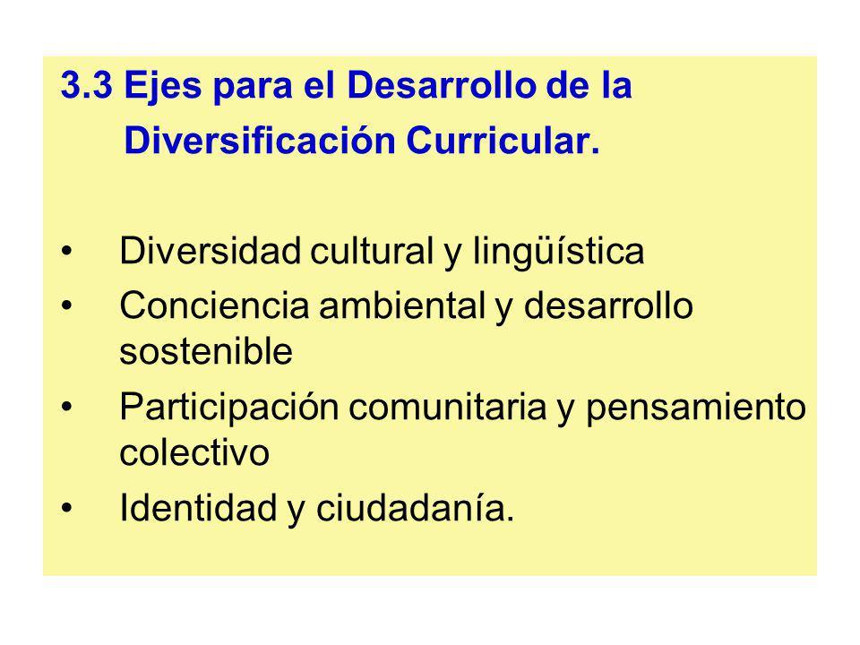 3.3 Ejes para el Desarrollo de la Diversificación Curricular. Diversidad cultural y lingüística Conciencia ambiental y desarrollo sostenible Participa