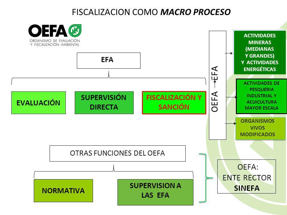 SUPERVISION A ENTIDADES PÚBLICAS Supervisiones in situ Son aquellas que realiza el OEFA en las instalaciones de las EFA. Cuando la EFA adquiera condic