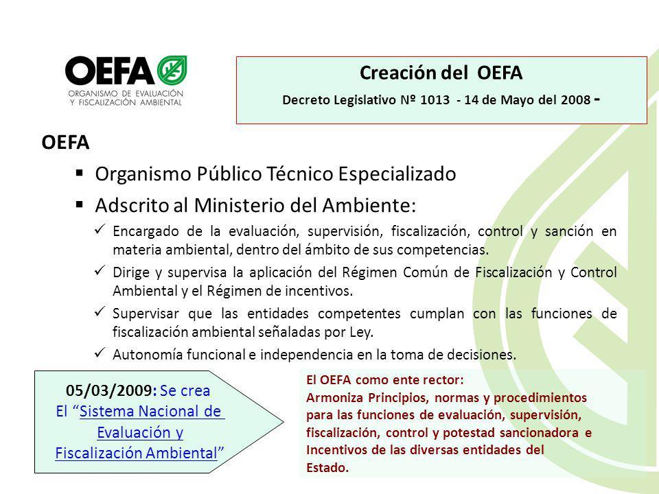 OEFA Organismo Público Técnico Especializado Adscrito al Ministerio del Ambiente: Encargado de la evaluación, supervisión, fiscalización, control y sanción en materia ambiental, dentro del ámbito de sus competencias.