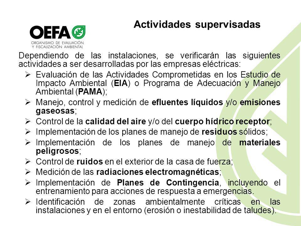 Supervisión del Subsector Eléctrico La Supervisión del Sub sector Eléctrico verifica el cumplimiento de las normas ambientales en la construcción y op