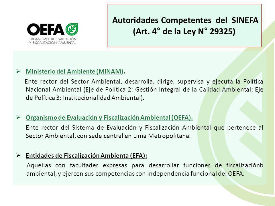 Autoridades Competentes del SINEFA (Art.4° de la Ley N° 29325) Ministerio del Ambiente (MINAM).